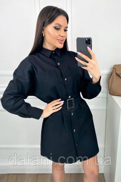 Женское черное джинсовое платье-рубашка с поясом