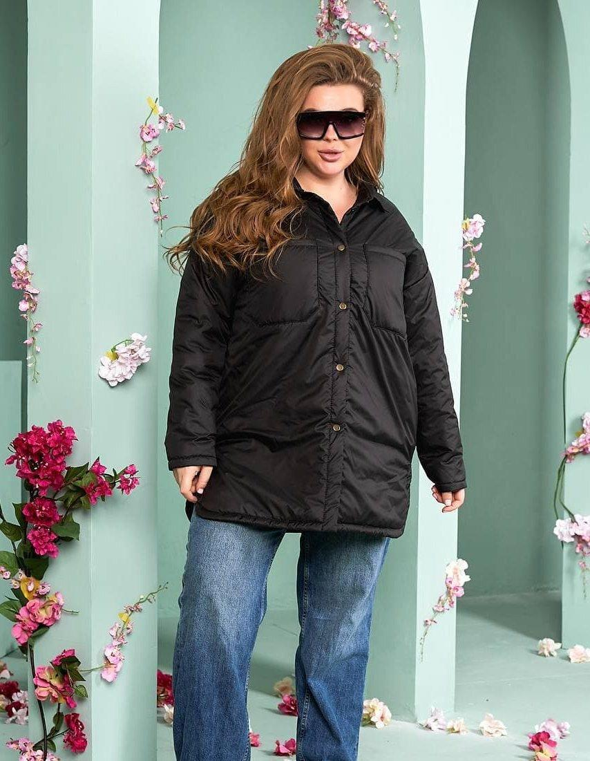 Женская черная куртка-рубашка демисезонная