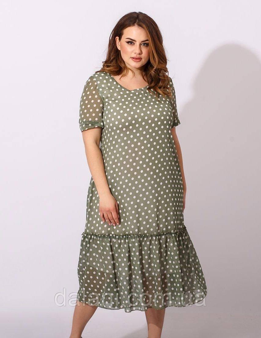 Жіноче шифонове зелене плаття міді в горошок батал