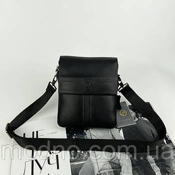 Чоловіча шкіряна сумка месенджер через плече H. T. Leather чорна