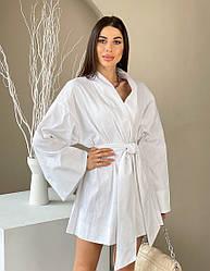 Женское белое льняное платье с запахом и рукавами-кимоно