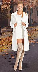Кашемірове жіноче біле пальто зі знімним хутром на рукавах