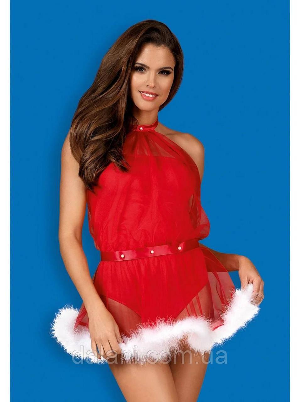Жіночий новорічний червоний костюм для дорослих ігор