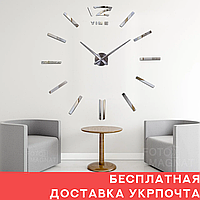 """Настенные часы 3D Большие """"TimeLine""""- 3Д часы наклейка с зеркальным эффектом, необычные настенные часы стикеры"""