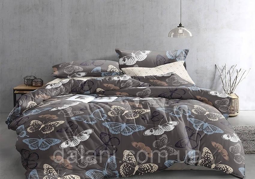 Полуторный комплект постельного белья из сатина с бабочками
