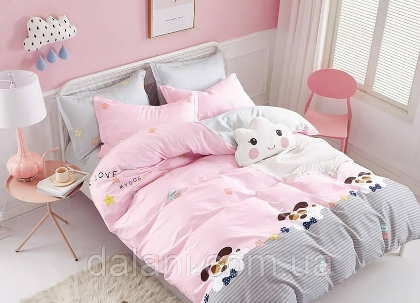 Розовый евро комплект постельного белья из ренфорса