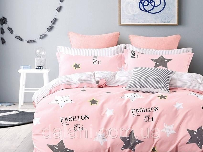 Полуторный розовый комплект постельного белья из Ренфорса