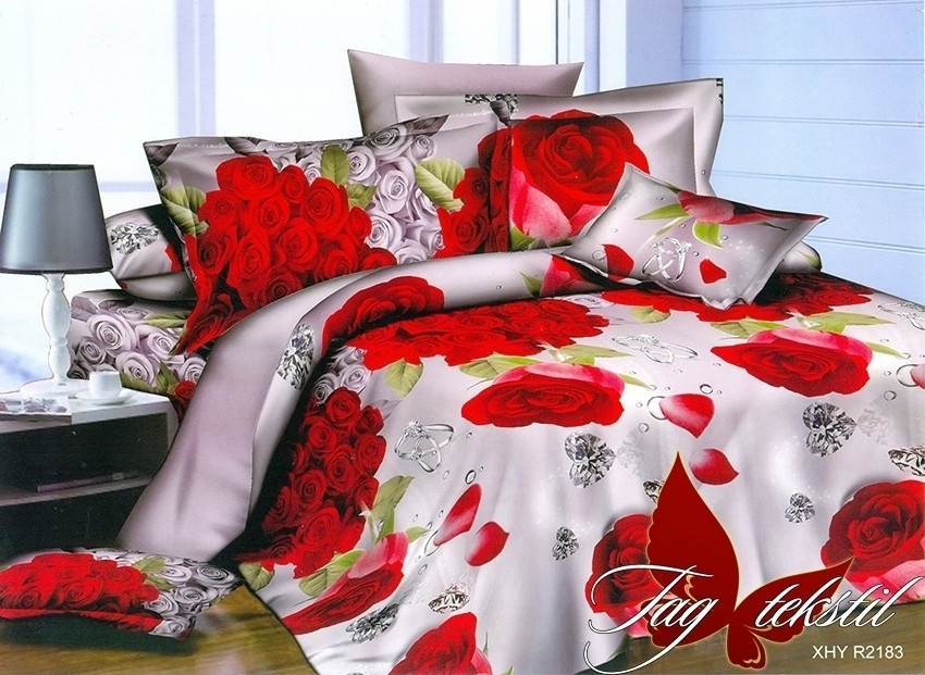 Полуторный комплект постельного белья из полисатина 3D Розы