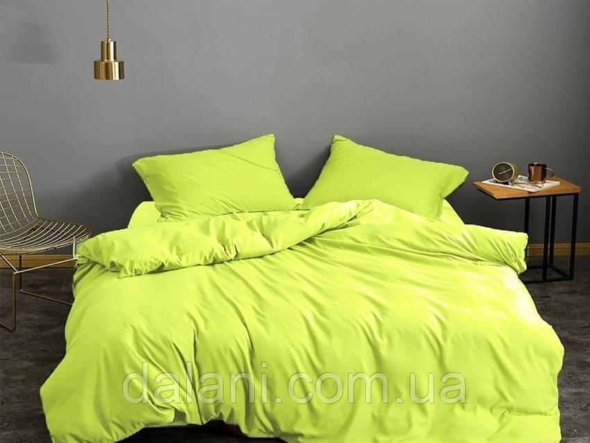 Зелений євро комплект постільної білизни з сатину