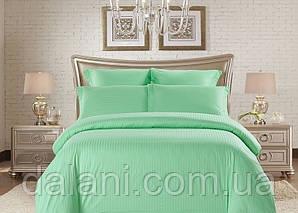 Двоспальний зелений комплект постільної білизни з страйп-сатину