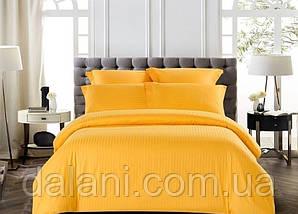 Двоспальний помаранчевий комплект постільної білизни з страйп-сатину
