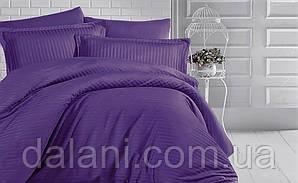 Двоспальний фіолетовий комплект постільної білизни з страйп-сатину