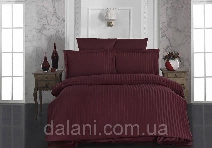 Двоспальний бордовий комплект постільної білизни з страйп-сатину