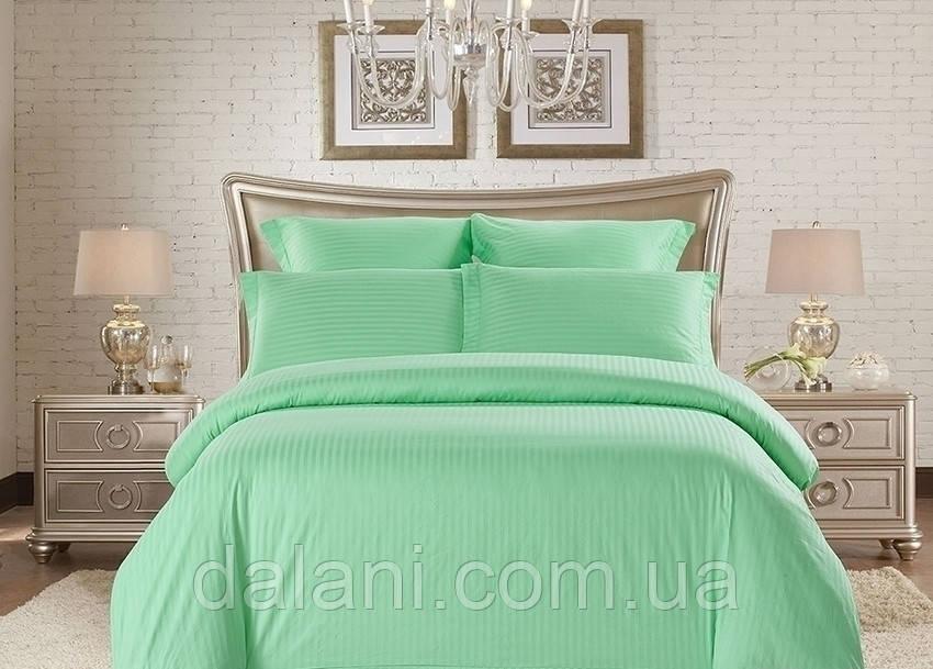 Семейный зеленый комплект постельного белья из страйп-сатина