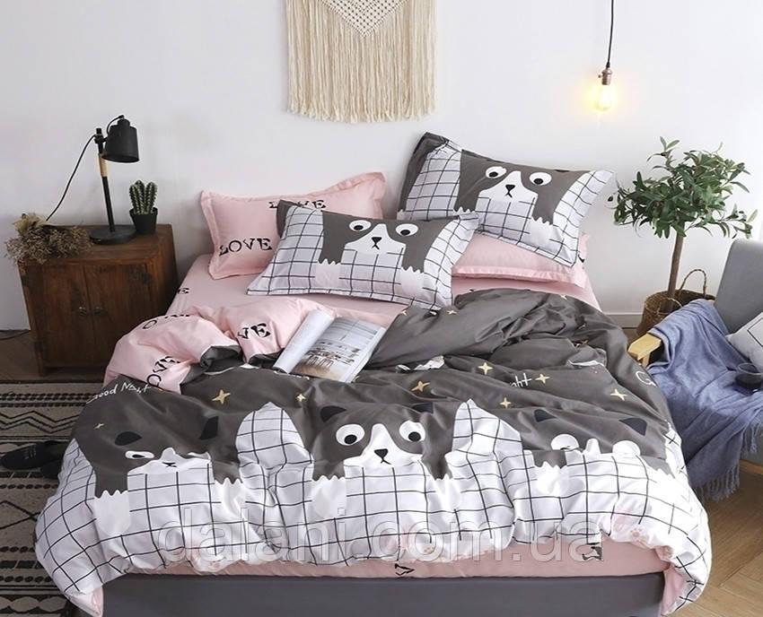 Двоспальний комплект постільної білизни з сатину