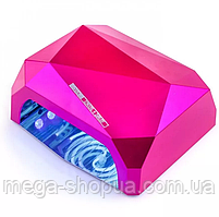 Гибридная лампа для маникюра Diamond CCFL+LED 36W сушилка для ногтей с таймером, сушки геля, гель-лака Розовая