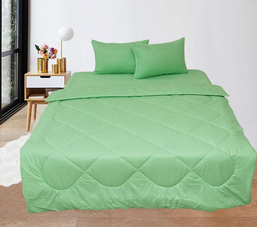Постільний зелений набір з ковдри, простирадла і наволочок