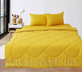 Постельный желтый набор из одеяла, простыни и наволочек