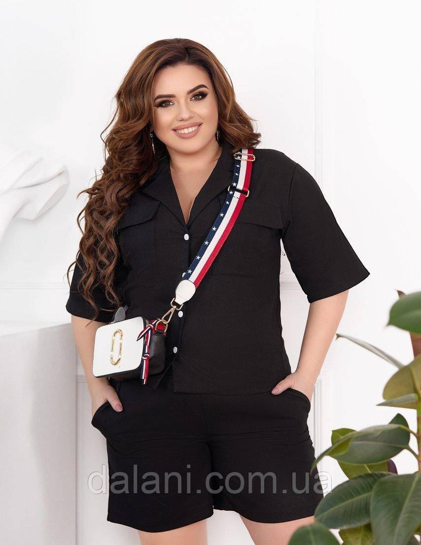 Жіночий літній чорний костюм лляний з шортами і рубашкою батал