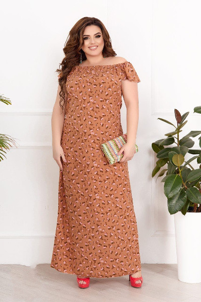 Женский оранжевый летний сарафан макси с принтом батал