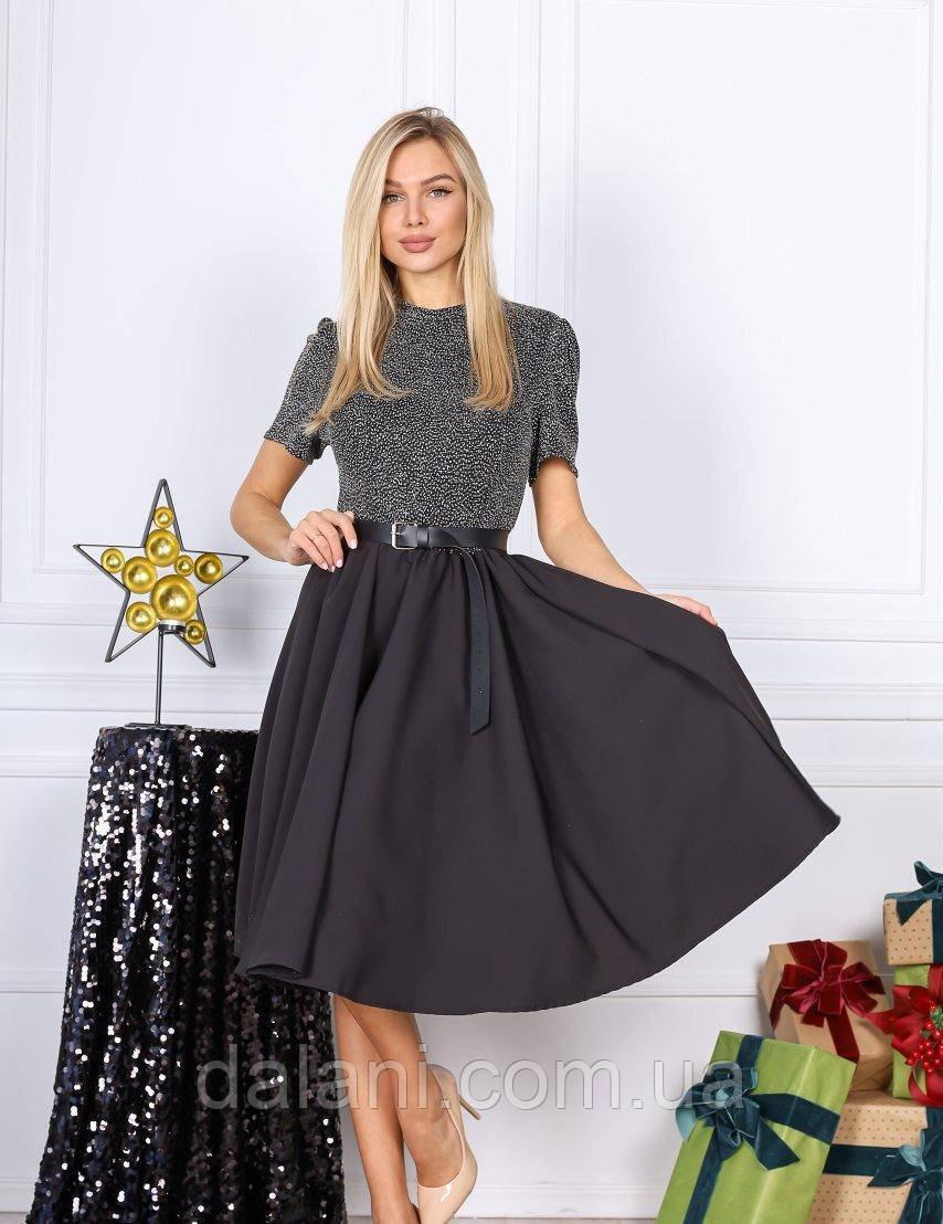 Коктейльне чорне плаття-кльош міді