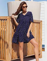 Женское синее короткое платье свободного кроя