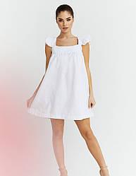 Женское белое льняное платье мини свободного кроя