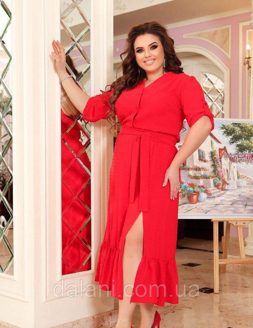 Женское красное летнее платье миди с разрезом батал