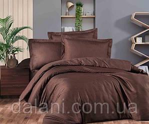 Двоспальний коричневий комплект постільної білизни з страйп-сатину