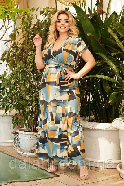 Жіноче бірюзове літнє плаття максі з запахом батал