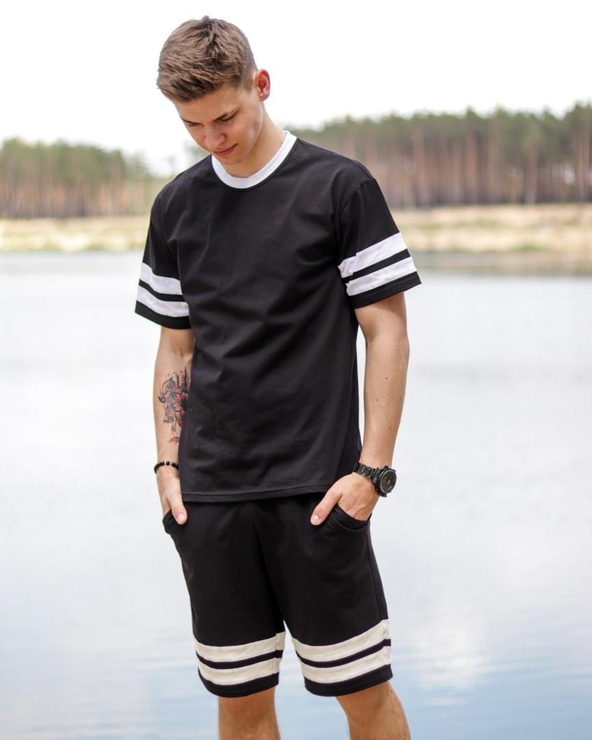 Літній чоловічий чорний комплект. Костюм чорні шорти + футболка чорна. Літній спортивний костюм.