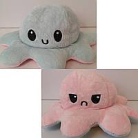 Осьминог-перевёртыш плюшевая игрушка двухсторонняя, цвет розовый/голубой
