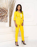 Костюм тройка женский стильный - брюки, майка и кардиган с поясом арт 165, цвет желтый