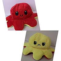 Осьминог-перевёртыш плюшевая игрушка двухсторонняя, цвет красный/желтый