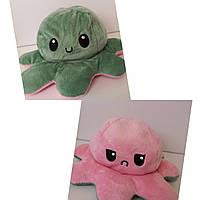 Осьминог-перевёртыш плюшевая игрушка двухсторонняя, цвет зелёный /розовый