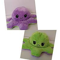 Осьминог-перевёртыш плюшевая игрушка двухсторонняя, цвет сиреневый/салатовый