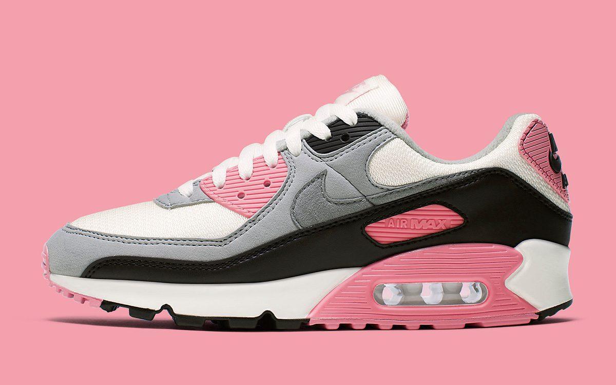 Кроссовки Nike Air Max 90 Gray Pink Black женские
