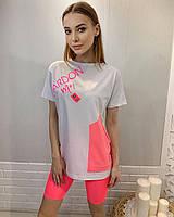 Турецкая женская трикотажная белая футболка с розовым карманом, 7891, фото 1
