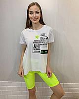 Турецкая женская трикотажная белая футболка с цветной надписью, 7806, фото 1