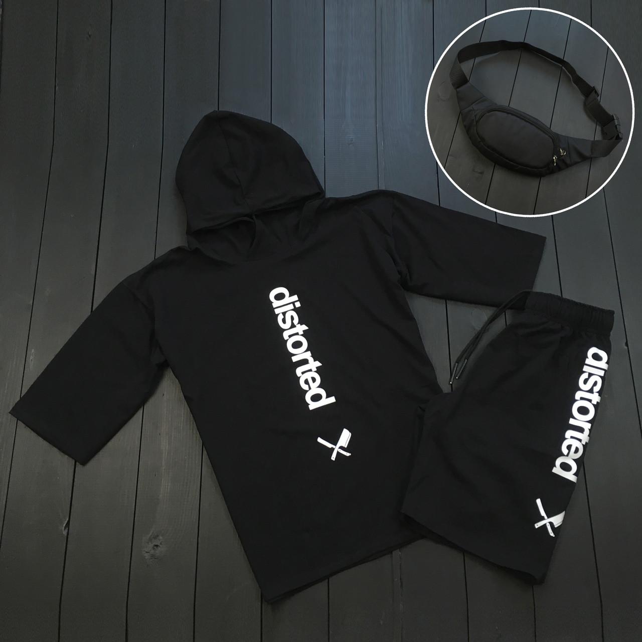 Мужская футболка шорты, спортивный костюм мужской летний черный + барсетка