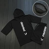 Мужская футболка шорты, спортивный костюм мужской летний черный + барсетка, фото 1