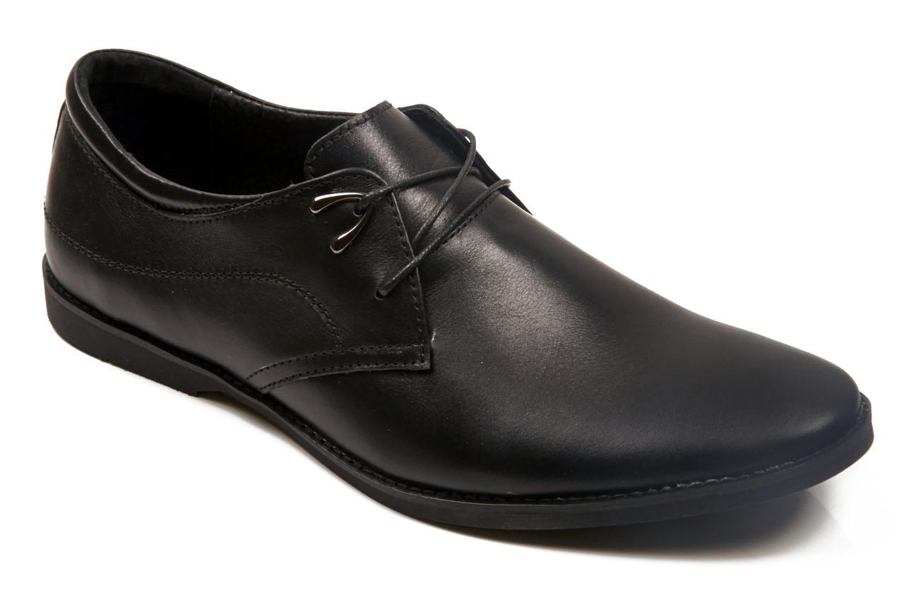 Мужские стильные черные кожаные туфли комфорт на шнуровке Affinity 198-11 скидка