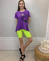 Турецкая женская трикотажная сиреневая футболка с цветной надписью, 7806, фото 1