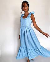 Сарафан жіночий річний 5245 (42-44; 46-48) кольори: блакитний, білий) СП, фото 1