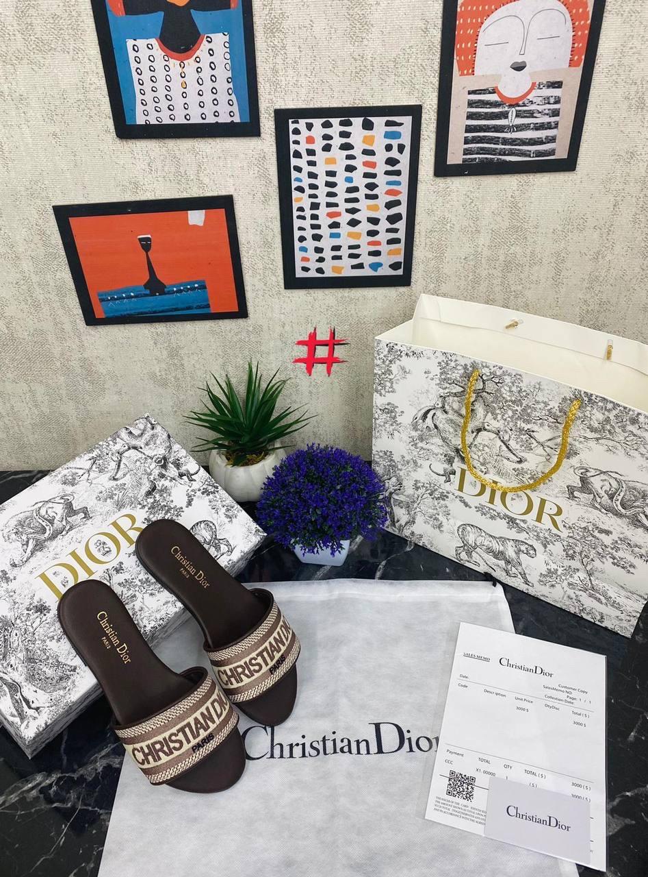 Крутые женские сланцы Christian Dior cruis коричневые (люкс копия)