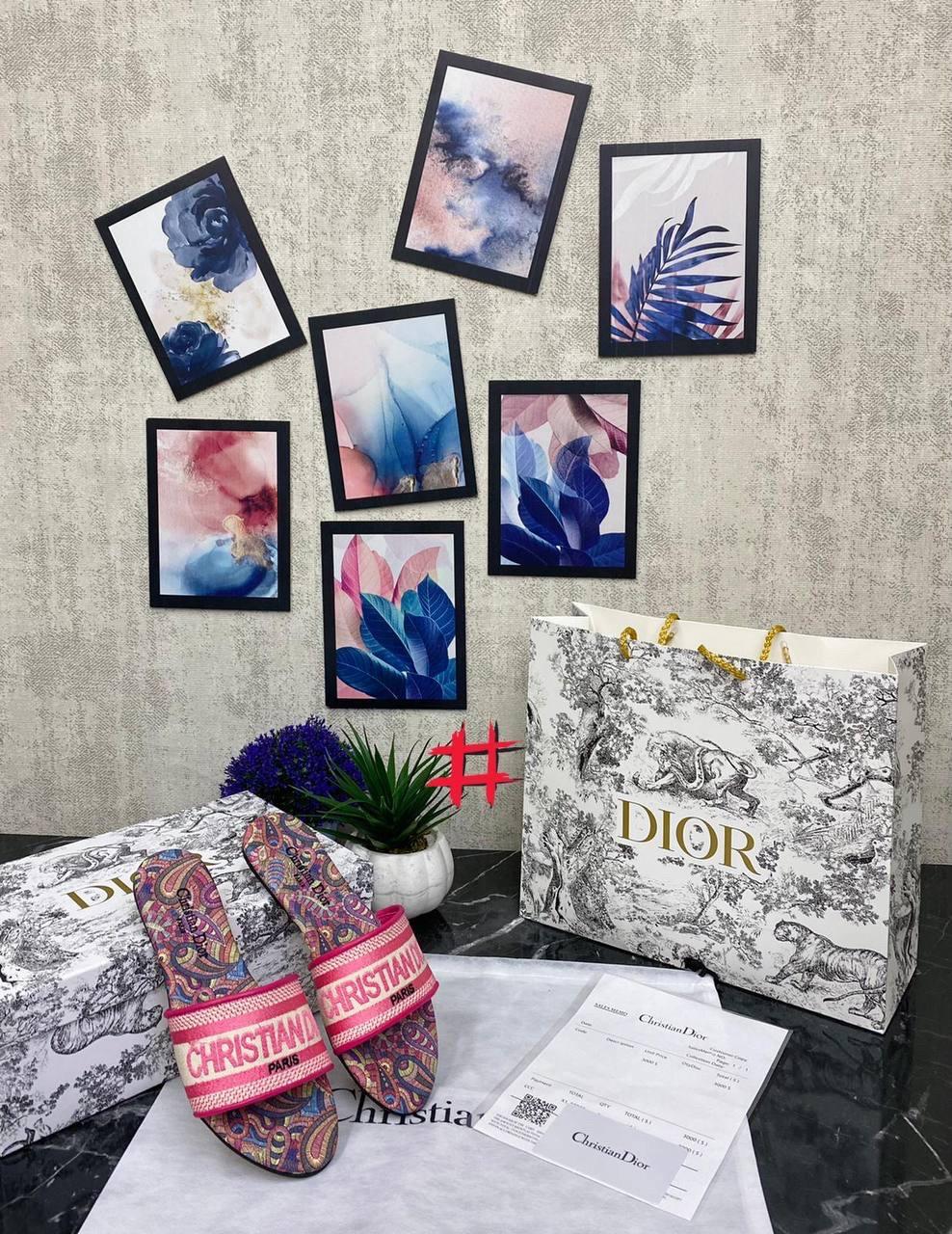 Крутые женские сланцы Christian Dior cruis розовые (люкс копия)