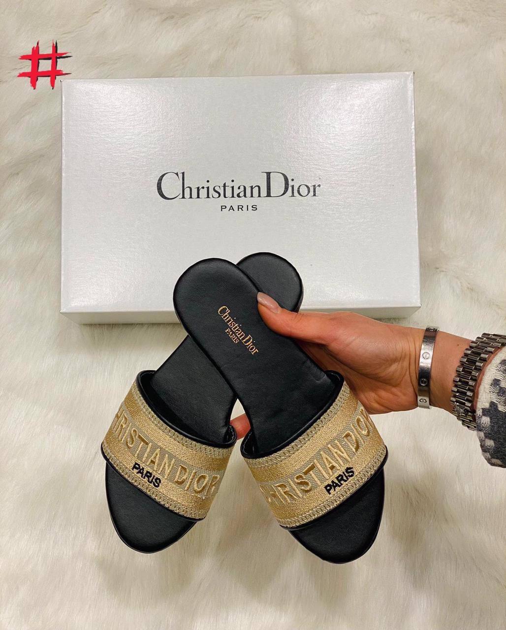 Круті жіночі сланці Christian Dior cruis чорно золоті (люкс копія)