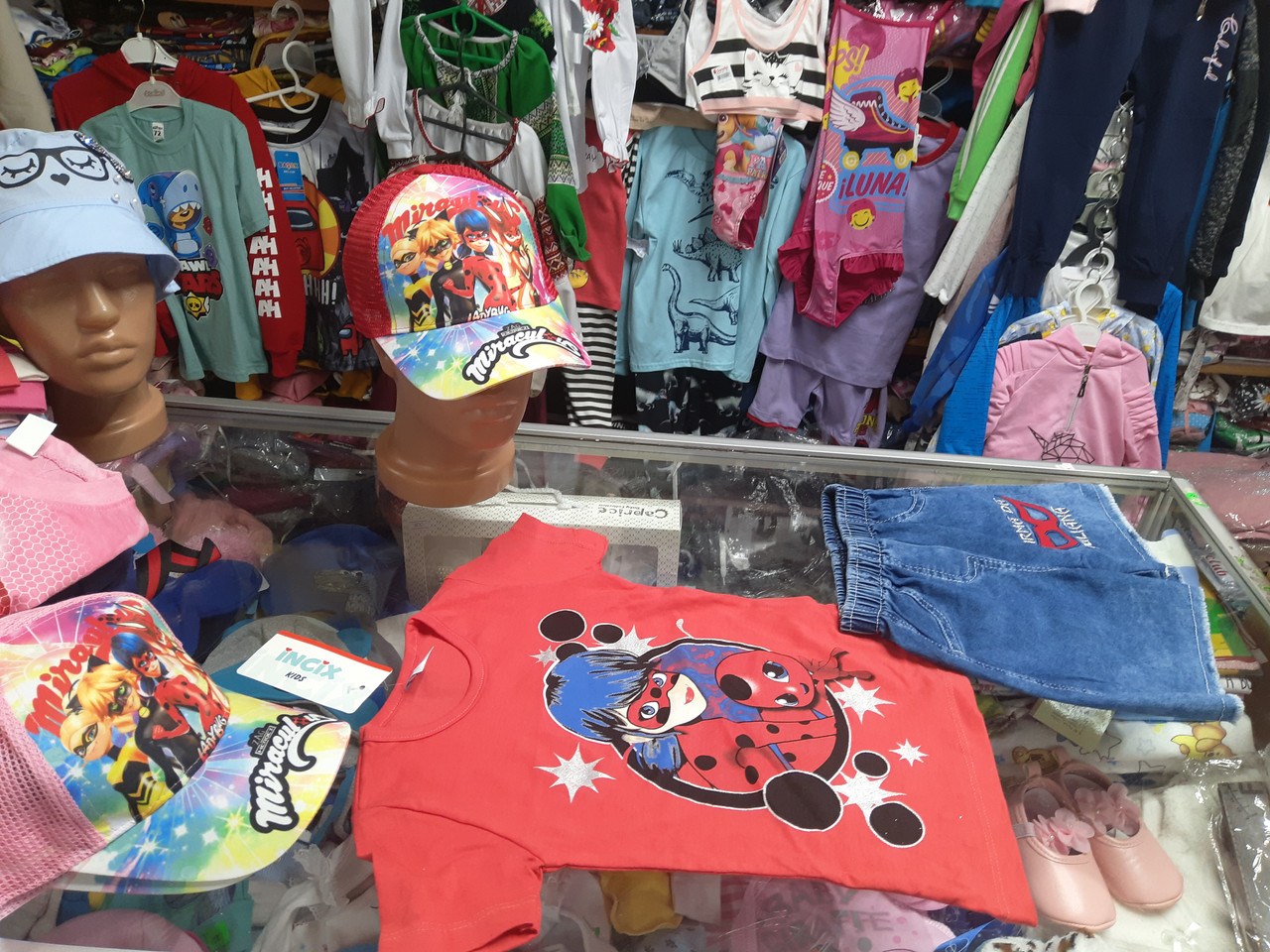Летний костюм для девочки с Джинсовыми шортами Леди Баг р.98 104 110