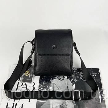 Чоловіча шкіряна сумка месенджер через плече на два відділення H. T. Leather чорна