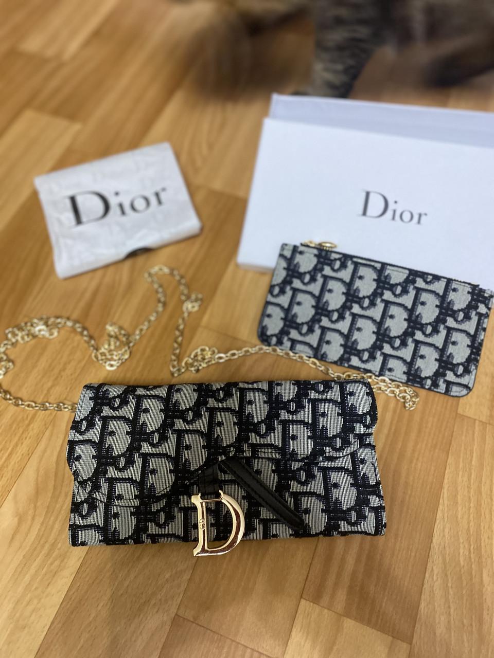 Шикарный женский кошелёк Christian Dior/ кошелёк с цепочкой на плечо/ черно срый кошелёк диор (люкс копия)